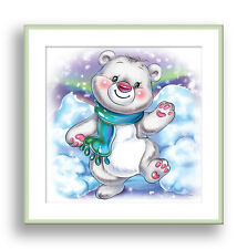 Polar Bear Animal Nursery Wall Art Kids Playroom Decor Toddler Children Wall Art