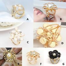 Chic Women Gold-Plated Brooch Crystal Silk Scarf Clip Buckle Holder Pins Jewelry
