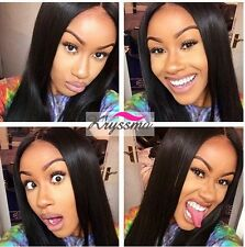 Real Remy Human Hair Full Lace Wig Light Brazilian Yaki Straight Lace Front Wigs