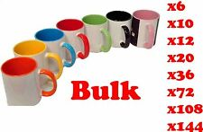 Personalised MUG Coloured Inside and handle, with Your Photo,Logo,Text bulk