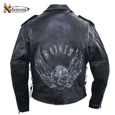 Men?s Premium Black Distressed-Leather Jacket with Embossed Flying Skull