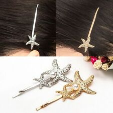Xmas Gifts Alloy Gold/Silver Starfish Pearl Barrettes Hair Clip Hairpins