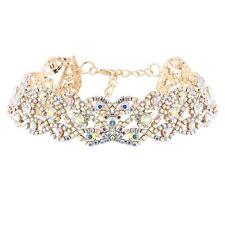 Gold Colorful Bling Crystal Bib Choker Statement Rhinestone Necklace Jewellery