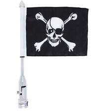 Motorcycle Flagpole Mount and Skull Cross-Bones Flag