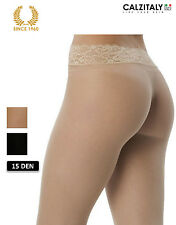 Seamless tights with lace 15 denier Black / Nude S/M/L