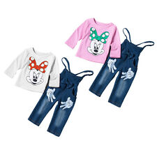Kid Girl 2pcs Minnie Outfits Tops T-shirts Denim Overalls Pants Toddler Clothes