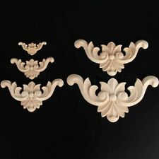 Wood Carved Corner Decal Furniture Craft Decor Unpainted Frame Onlay Applique