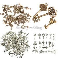 50pcs Mixed Key Charms Antique Silver Bronze Alloy Pendants Jewelry Findings