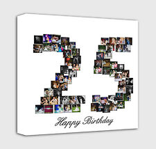 Your Photo number shape photo collage Canvas Print - Personalised on Box/Wrapped