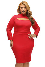 Plus Size Women Sexy Long Sleeve Keyhole Bodycon Evening Cocktail Party Dress
