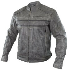 Xelement Sigma Men's Distressed Grey Leather Motorcycle Jacket