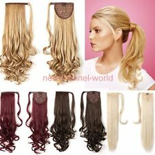 Long Ponytail Clip In Hair Extension Wrap Pony Tail Fake Hairpiece human made F8