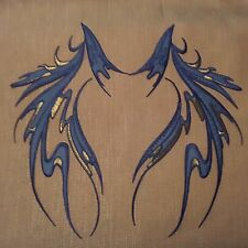 "Blue Wings Dance Costume Mirror Pair Embroidered 12"" Iron-on Patch Applique"