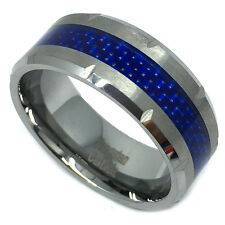 9mm Men Tungsten Carbide Blue Carbon Fiber Inlay Grooved Wedding Band Ring