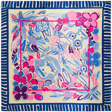 """Women's Blue Satin Flower and Monkey Printed Square Scarf Head Shawl 35""""*35"""""""