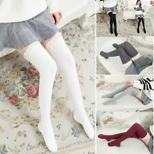 Warm Cotton Over Knee Women Stockings Knit Lace Socks Tigh High