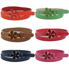 Womens Fashion Skinny Faux Leather Belt Big Flower Buckle Adjustable Waistband
