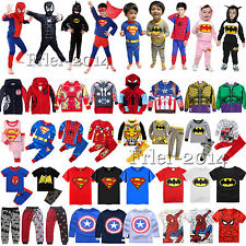 Kids Boys Girls Superhero Hoodies T-Shirt Pants Outfits Pajamas Cosplay Costume