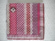 Mesafina Napkins Cocktail or Luncheon Size GINGHAM & LACE Theme 20 count