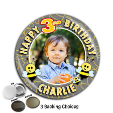 Personalised Bumble Bee Birthday PHOTO Badge 75mm ~ N64 Girls Boys ANY AGE