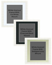 Picture Frame Handemade Square Grained White 35mm 3 Mount Options 18no Frames