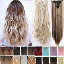 100%Natural Women Full Head Clip In Hair Extension Real Thick as human fake hair