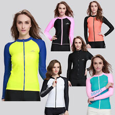 New Ladies Rash Guards Long Sleeve Swim Shirt Surf Swimwear Top UV Protection