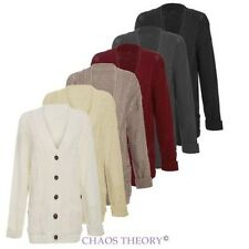 Ladies Womens Grandad Long Sleeve Chunky Cable Knitted Cardigan