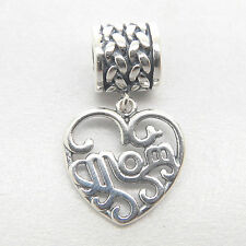 Mother's day gift Authentic S925 Sterling Silver Dangle heart MOM Charm