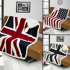 Union Jack Flag Super Soft Sherpa Throw Blanket, Red, White Blue Grey 130x160cm