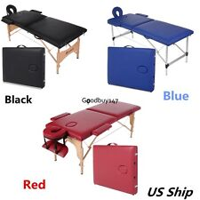 "84""L 2-Section Portable Massage Table Facial SPA Bed Tattoo Carry Case 3 Colors"