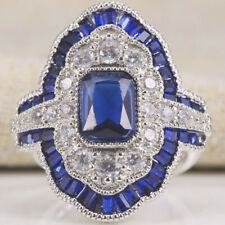 925 Silver White Natural Topaz& Tanzanite Women Wedding Bridal Ring Size 6-10