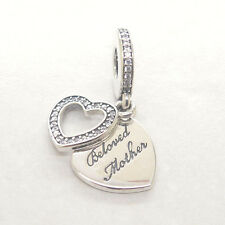 Genuine S925 Silver Beloved Mother Clear Cz Dangle Charm Mother's day gift