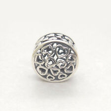 Authentic S925 Silver Loving Sentiments Hearts Openwork Charm