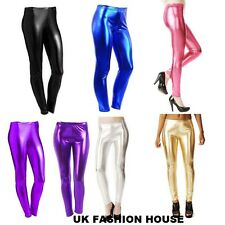 Womens Ladies High Waisted Stretchy Shiny Leggings Disco Dance Pants Top 8-14
