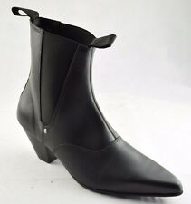 Steel Ground Black Leather Beat Boots Cuban Heel Chelsea Ankle Boot Sb040Z92