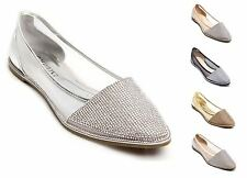New Ladies Sparkly Diamante Flat Point Ballerina Shoes
