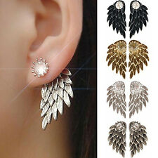 Silver Gold Inlaid New Party Angel Wings Earrings Rhinestone Alloy