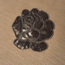 Black  Rose Sequins Flower Embroidered Patch Skirt Dress Jeans Iron-on Applique