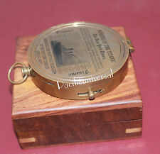 """Nautical Brass Antique Flat Compass 3"""" With Wooden Box Vintage Collectible Decor"""