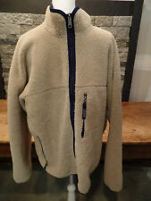 Patagonia Fleece Jacket Deep Pile Tan Shaggy Thick Rug Full Zip Blue Trim Sz XL