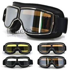 Leather Vintage Scooter Goggles Pilot Ski Retro Helmet Motorcycle Ride Bike