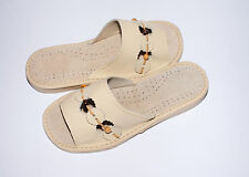 Fashionable Beige Leather Slippers For Women. High Quality Slippers from Poland