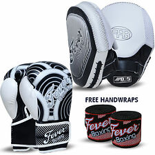 Professional Boxing Sparring Gloves Punch Bag Focus Pads Hook and Jab MMA White