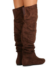 New Women Refresh Kayson-01 Faux Suede Over The Knee Slouchy Boot