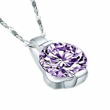 New Crystal Round Fashion Jewelry Gift Necklace Zircon Pendant Silver Plated