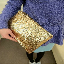 Women Lady Sparkling Dazzling Sequins Clutch Bag Purse Handbag Evening Party Bag