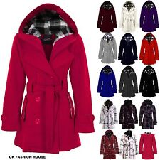 New Ladies Long Belted Button Hooded Duffle Military Jacket Womens Coat 8-22