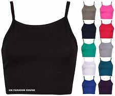 Womens New Sleeveless Ladies Stretch Cropped Camisole Strappy Bra Vest Plain Top