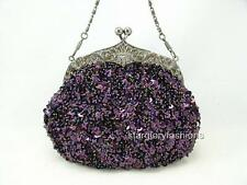 Designer Frame Eggplant Purple Beaded Sequined Bling Evening Purse Lots Colors
